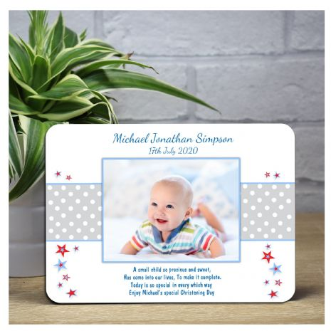 Personalised Boys Stars Christening Baptism Wood Photo Panel Print F41